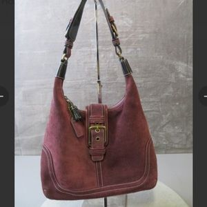 🌻Authentic Coach burgundy suede hobo